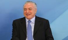 O presidente Michel Temer, durante anúncio de recursos para a Saúde: dinheiro já carimbado Foto: Givaldo Barbosa