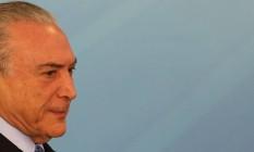 O presidente Michel Temer, durante cerimônia de anúncio de medidas para o SUS, no Palácio do Planalto Foto: Givaldo Barbosa / Agência O Globo