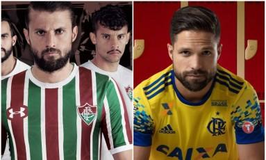 Novos uniformes de Fluminense e Flamengo foram divulgados oficialmente nesta sexta-feira Foto: Divulgação