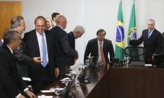 Pezão durante reunião com o presidente Michel Temer, em Brasília. Encontro terminou sem novidades Foto: Givaldo Barbosa / Agência O Globo