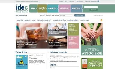 Página do Idec Foto: Reprodução