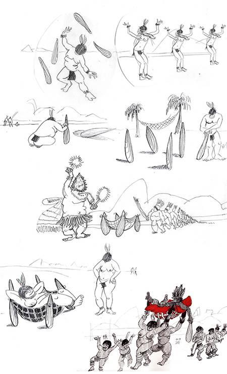 História em quadrinho faz referência às origens brasileiras, a união do tacape indígena com a rede Foto: Sergio Rodrigues