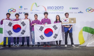 Equipe da Coreia do Sul na Olimpíada Internacional de Matemática Foto: Davi Campana/Divulgação
