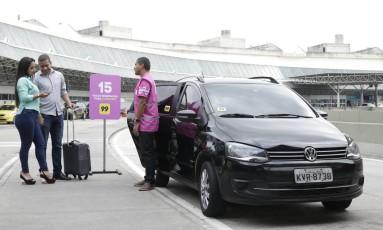 Aplicativo 99 tem 15 vagas reservadas no embarque do terminal 2 do aeroporto internacional Foto: Bruno Girão/Divulgação