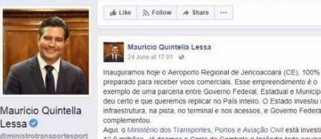 Reprodução de facebook de Maurício Quintela, ministro dos Transportes Foto: Agência O Globo