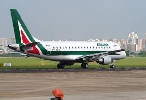 Avião da Alitalia: empresa passa por crise financeira Foto: Lucas Lacaz Ruiz