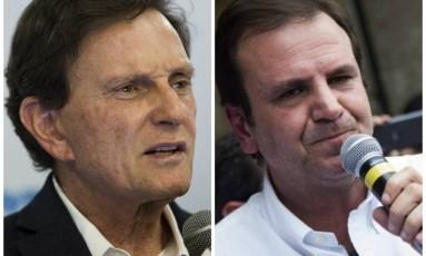 O prefeito Marcelo Crivella e o ex-prefeito Eduardo Paes Foto: Fotomontagem