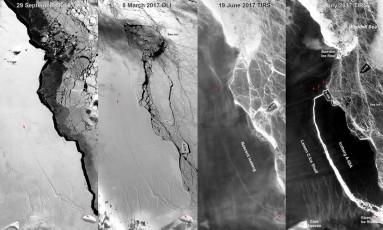Evolução da rachadura na plataforma Lasen C Foto: NASA