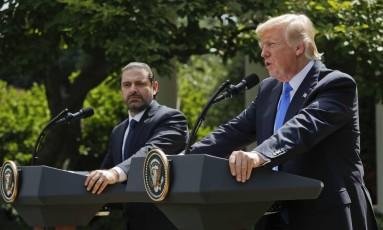 Trump fala na Casa Branca ao lado do premier libanês, Saad Hariri Foto: Pablo Martinez Monsivais / AP