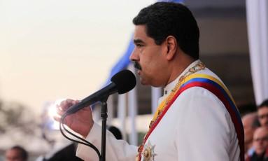 O presidente da Venezuela, Nicolás Maduro, discursa durante uma cerimônia Foto: HANDOUT / REUTERS