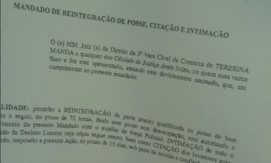 Mandado de reintegração de posse de terras do senador Ciro Nogueira Foto: Reprodução