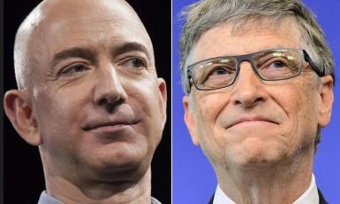 Jeff Bezos (à esq.) e Bill Gates (à dir.); Foto: Montagem