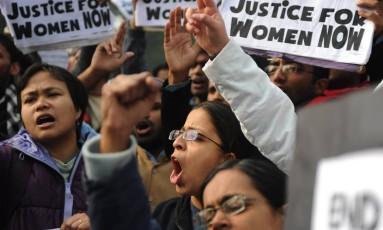 Protestos contra a cultura do estupro na Índia Foto: SAJJAD HUSSAIN / AFP