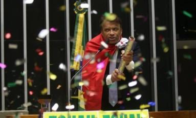Wladimir Costa (SD-PA) durante votação do impeachemente da ex-presidente Dilma Rousseff Foto: Antônio Barboza/Divulgação do Solidariedade