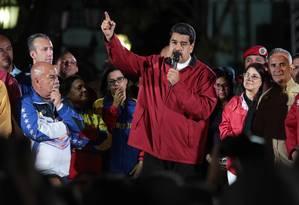 O presidente da Venezuela, Nicolás Maduro, fala durante um comício para seus apoiadores em Caracas Foto: handout / REUTERS