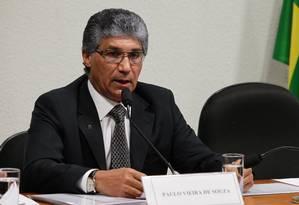 O ex-diretor da Dersa Paulo Vieira de Souza, em depoimento na CPI do Cachoeira, em 2012 Foto: Aílton de Freitas/Agência O Globo/29-08-2012
