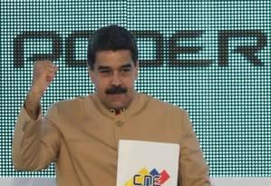 Presidente da Venezuela, Nicolás Maduro, fala durante evento em Caracas após eleição da sua Constituinte Foto: HO / AFP
