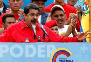 Maduro faz discurso ao encerrar campanha em favor da Assembleia Constituinte em Caracas Foto: Carlos Garcia Rawlins / REUTERS