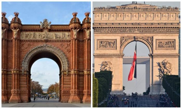 Arco do Triunfo de Barcelona (à esquerda) e o Arco do Triunfo de Paris (à direita) Foto: Editoria de Arte, sobre fotos de Selbmay (Creative Commons) e Alain Jocard (AFP)