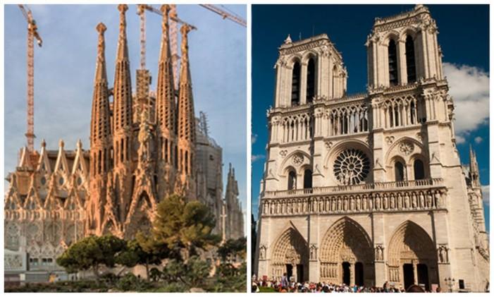 La Sagrada Familia, em Barcelona (esquerda), e Notre Dame, em Paris (direita) Foto: Editoria de Arte, sobre fotos de Pep Daude (Divulgação) e Ana & Michal (Flickr/Creative Commons)