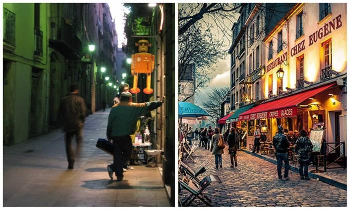 Rua do Barri Gòtic, em Barcelona (esquerda), praça em Montmartre, em Paris (direita) Foto: Editoria de Arte, sobre fotos de Pierre Phaneuf (Creative Commons) e Alessandro Tortora (Flickr / Creative Commons)