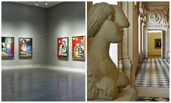 Museo Picasso em Barcelona (esquerda) e Museu Picasso em Paris (direita) Foto: Editoria de Arte sobre fotos de reprodução da internet