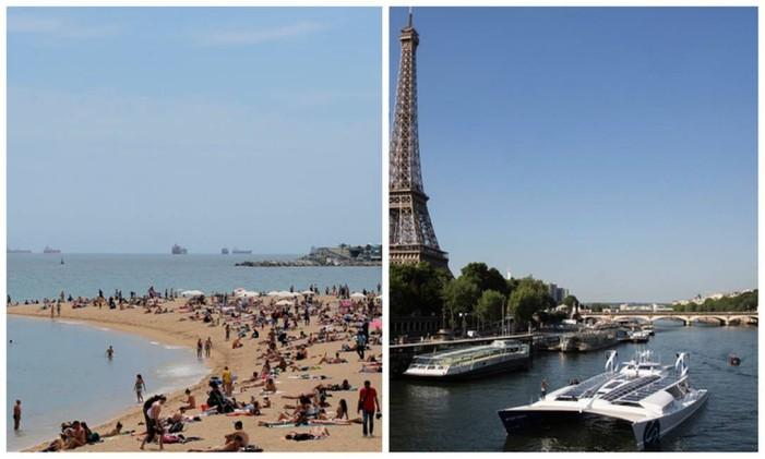 Praia de Barceloneta, em Barcelona (esquerda), e Rio Sena, em Paris (direita) Foto: Editoria de Arte, sobre fotos de Manu Fernandez (AP) e Kamil Zihnioglu (AP)