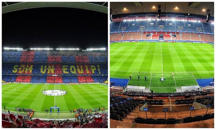 Camp Nou, em Barcelona (esquerda), e Parc des Princes, Paris (direita) Foto: Editoria de Arte sobre fotos de Ayman.antar7 (Creative Commons) e Valeriy Ded (Creative Commons)
