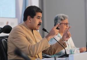 Presidente Nicolás Maduro fala no órgão eleitoral em Caracas Foto: HANDOUT / REUTERS