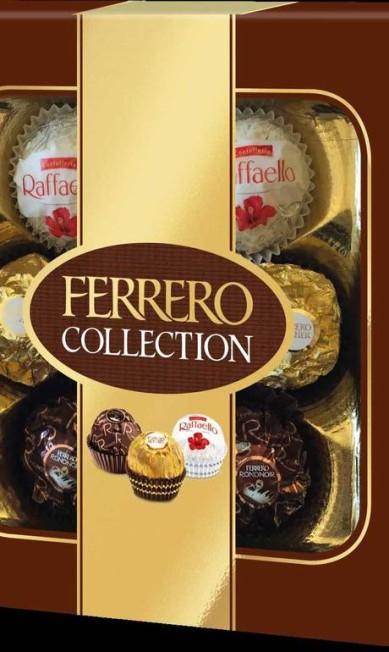 Bombons Ferrero Collection (sacbrasil@ferrero.com), R$ 16,90: caixa com unidades de Ferrero Rondnoir, Ferrero Rocher e Raffaello Divulgação