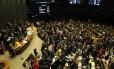 O plenário da Câmara dos Deputados durante a votação da denúncia contra o presidente Michel Temer