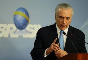 O presidente Michel Temer faz pronunciamento no Palácio do Planalto Foto: Jorge William / Agência O Globo
