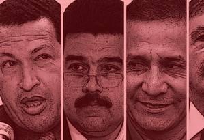 Hugo Cháves, Nicolas Maduro, Ollanta Humala, Julio De Vido e Henrique Capriles Foto: Editoria de Arte