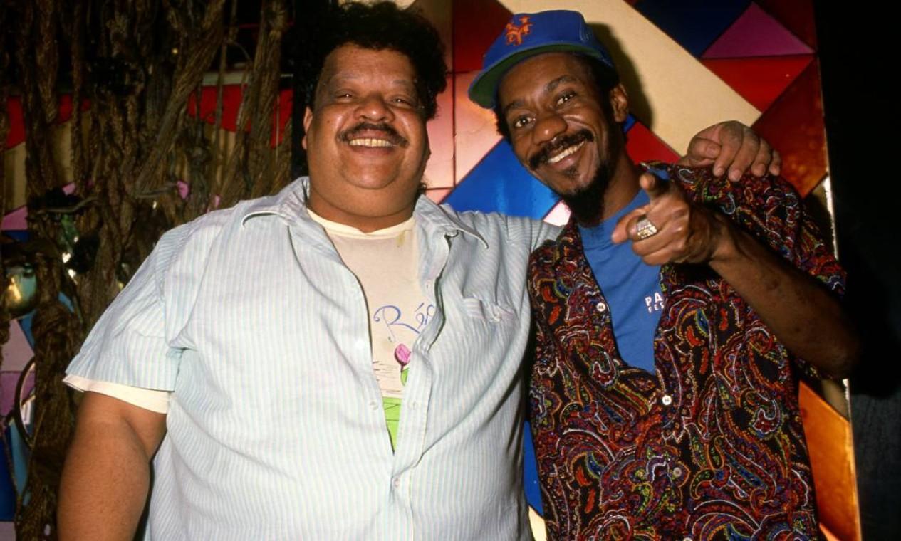 Tim Maia e Luiz Melodia em 16 de agosto de 1988 Foto: Guilherme Bastos / Agência O Globo