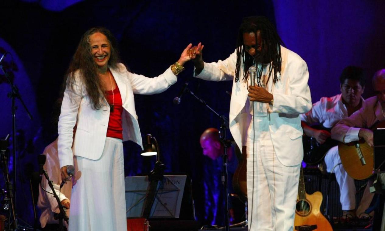 Show beneficente de Maria Bethânia e Luiz Melodia no Vivo Rio, em 14 de novembro de 2007 Foto: Berg Silva / Divulgação