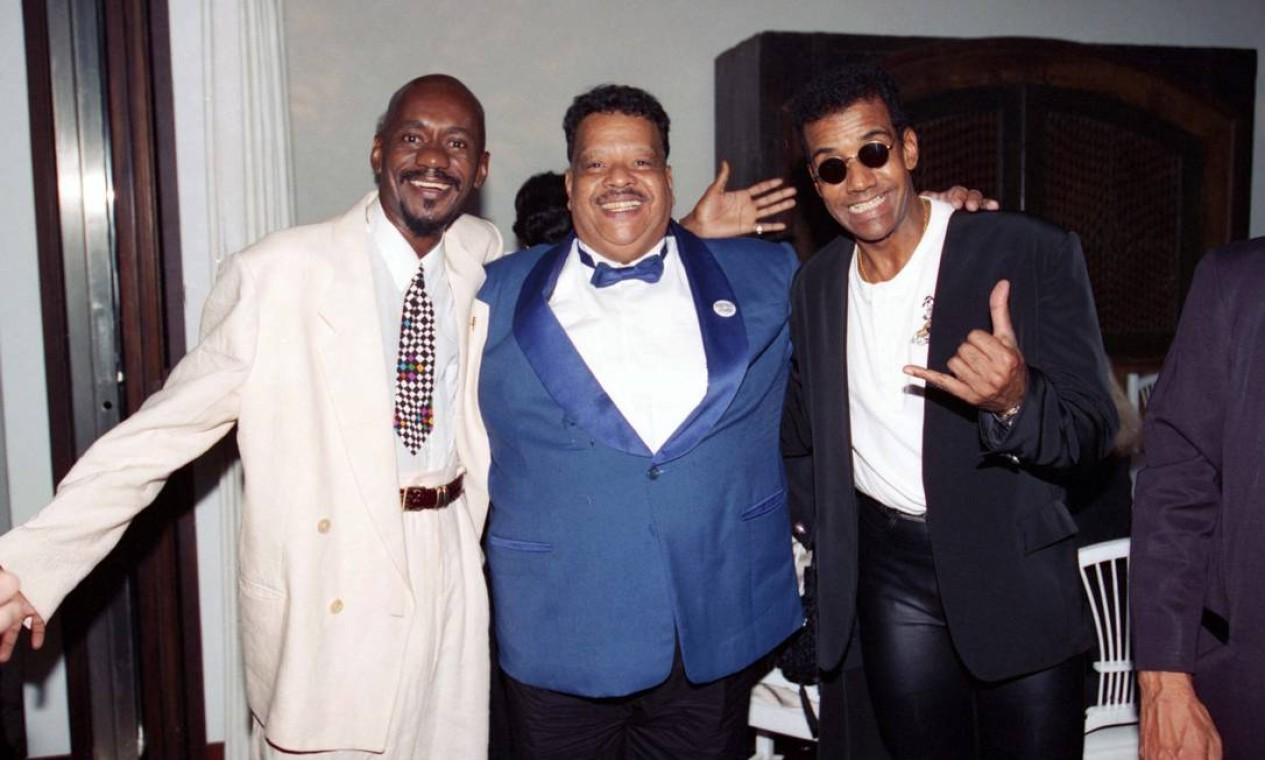 Luiz Melodia, Tim Maia e Jorge Ben Jor no prêmio Sharp de Música, em 1995 Foto: Carlos Ivan / Agência O Globo