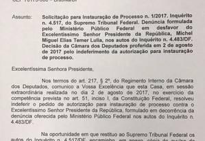 Rodrigo Maia comunica ao Supremo que a Câmara indeferiu o pedido para abertura de processo contra Michel Temer Foto: Reprodução