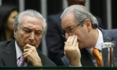 O ex-presidente da Câmara Eduardo Cunha e o presidente Michel Temer, em 2015 Foto: ANDRE COELHO / Agência O Globo