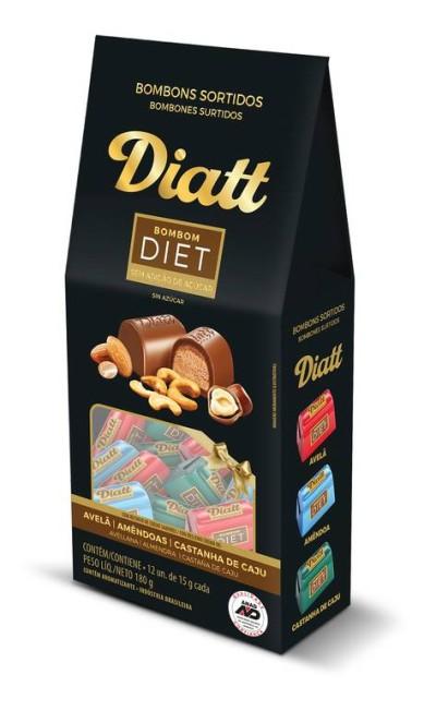 Bombom diet Diatt (www.diatt.com.br), desenvolvido para pessoas diabéticas ou que buscam alimentos sem adição de açúcar, adoçados com sucralose e assim, mantem o sabor original do cacau: R$ 23 a caixa. Divulgação