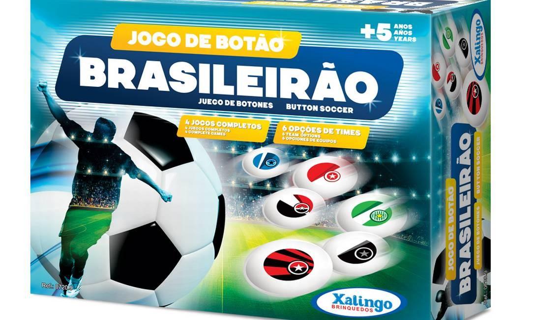 Jogo de botão Brasileirão com 4 times, 2 goleiras, 2 palhetas, 2 bolas e 6 opções de adesivos de camisetas da Xalingo à venda loja virtual MP Brinquedos (www.mpbrinquedos.com.br), R$ 29,99 Divulgação