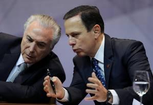 O presidente Michel Temer durante evento com o prefeito de São Paulo, João Doria Foto: Paulo Whitaker / Reuters