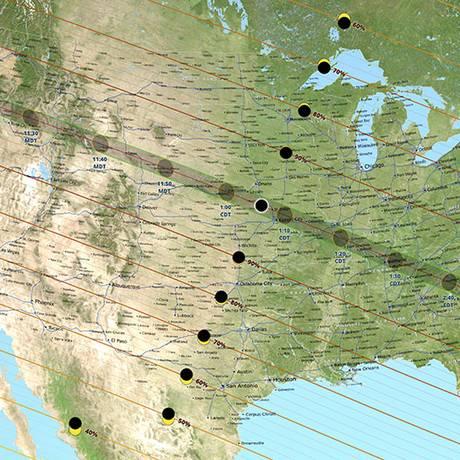 Mapa mostra o trajeto da eclipse solar em 21 de agosto de 2017 Foto: Reprodução Nasa