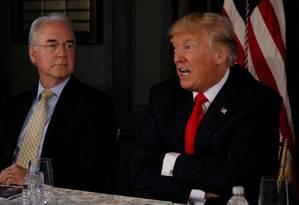 Presidente dos EUA, Donald Trump, fala sobre ameaça norte-coreana em entrevista coletiva Foto: JONATHAN ERNST / REUTERS