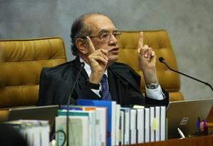 Gilmar Mendes, no plenário do STF Foto: Ailton de Freitas / Agência O Globo