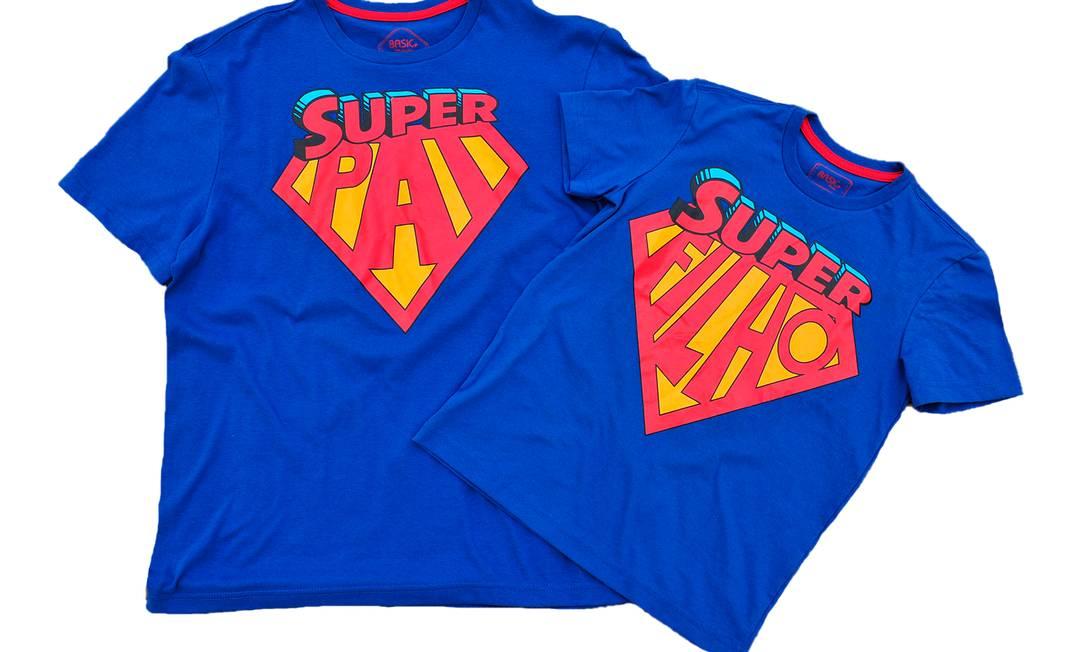 Camisa Super Pai R$ 29,99 e Super Filho, R$ 19,99, à venda nas Lojas Americanas Divulgação
