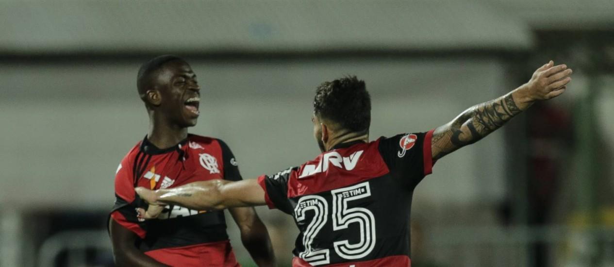 Vinicius Júnior comemora seu primeiro gol como profissional Foto: Alexandre Cassiano