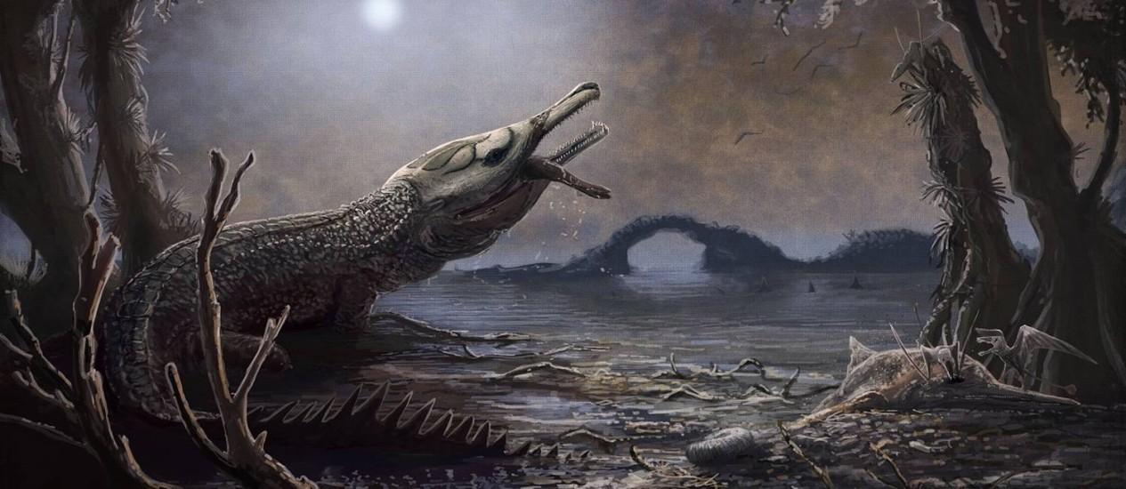 Divulgada pelo Museu de História Natural de Londres mostra Lemmysuchus, o pré-histórico crocodilo marinho Foto: MARK WITTON / AFP