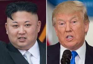 O líder norte-coreano, Kim Jong-un, e o presidente americano, Donald Trump Foto: AFP