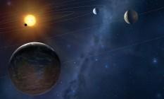 Ilustração mostra um sistema planetário fora do Sistema Solar Foto: Universidade de Cambridge / Mark Garlick