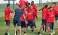 Neymar no treinamento do PSG